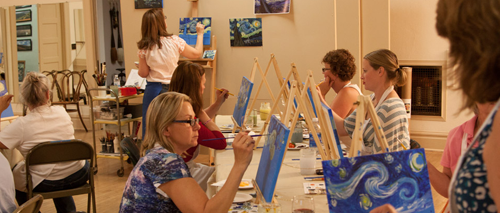 adult painting classes, atascadero, paint and wine, my masterpiece, studio 101 west art education