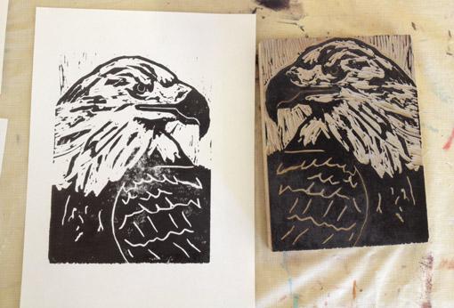 High School Art Curriculum - Homeschool Art - Eagle Linoleum Blocks - Drawing on History