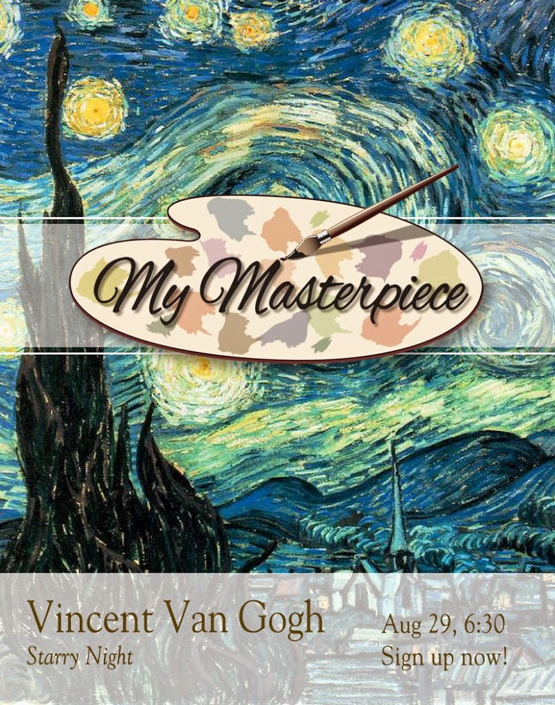 Adult Painting Class, Wine and Painting, Painting Party, Vincent VanGough, Vincent Van Gogh, Starry Night - Knoodle U, My Masterpiece Painting Class